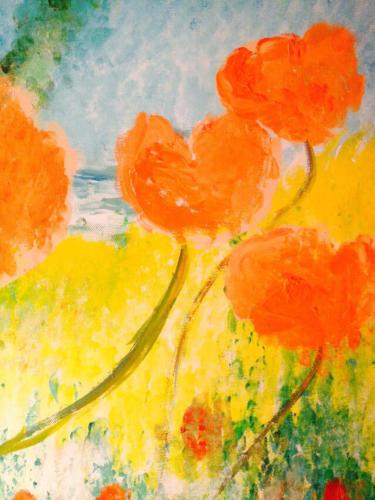Orange Blumen 4 Stück