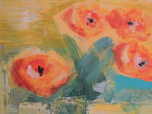 4 große orange Blüten