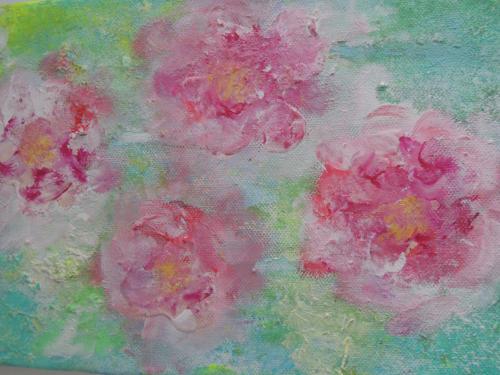 4 große rosa Blüten